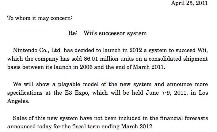 wii 2 release date 2011. Nintendo Wii 2 revealed,