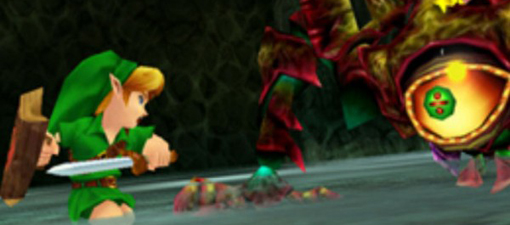 Zelda Ocarina of Time 3DS screenshot of Link battling a boss