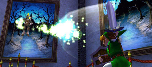 Zelda Ocarina of Time 3DS screenshot of Link swinging his sword