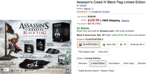 Assassin's Creed 4 limited edition sale for Cyber Monday