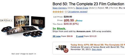 Bond Blu-ray Collection on sale at Amazon today