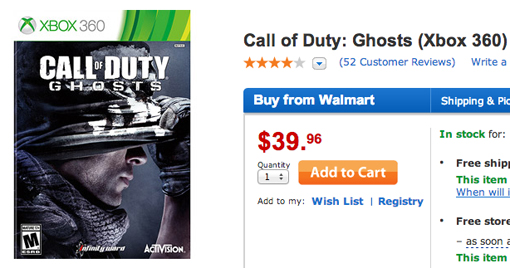 Best price for Call of Duty: Ghosts deal is at Walmart