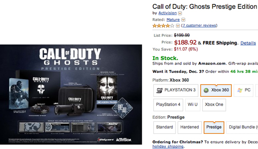 Call of Duty Ghosts Prestige Edition Cyber Monday sale at Amazon