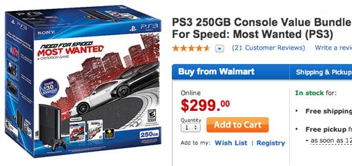 Walmart Cyber Monday PS3 250GB bundle