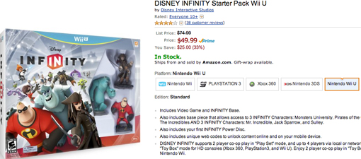 Disney Infinity on sale for Black Friday and Cyber Monday for Wii U at Amazon