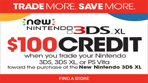 new nintendo 3ds xl available at gamestop for 100 with special promotion. Black Bedroom Furniture Sets. Home Design Ideas