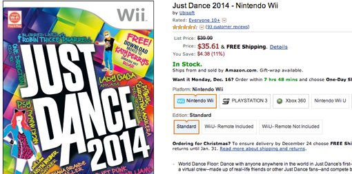 Just Dance 2014 on sale for Nintendo Wii