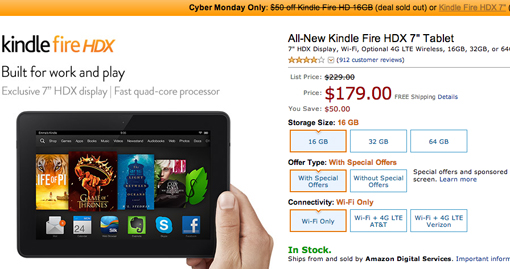 Kindle Fire Cyber Monday sale