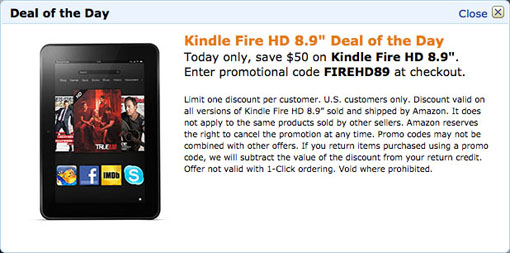 Kindle Fire HD 8.9 inch price on Amazon