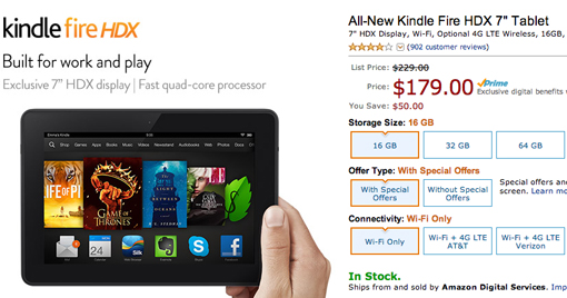 Cyber Monday sale for Kindle Fire HDX tablet at Amazon