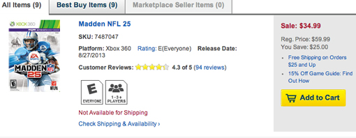 Cyber Monday: Madden NFL 25 at Best Buy