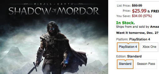 Middle Earth: Shadow of Mordor Cyber Monday deal 2014 at Amazon