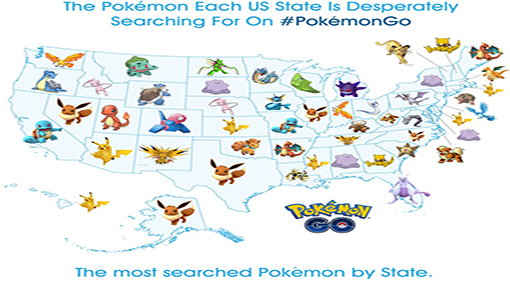 Which Pokemon Each State Is Searching For The Most In Go