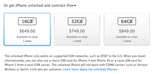 Unlocked iPhone 5 contract-free