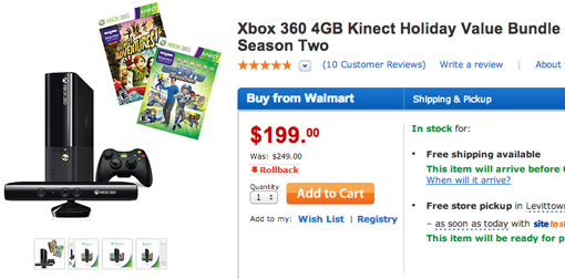 Xbox 360 console bundled with Kinect just $199 at Walmart, a
