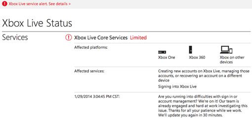 Xbox Live down 2014