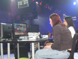 Female competitors Marjorie 'Kasumi Chan' Bartel and Cynthia 'RasberryTea' Escamilla compete in a DOA 4 challenge called by a General Manager.